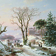 Wooded Winter River Landscape Poster by  Andreas Schelfhout