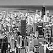 0036 Chicago Skyline Black And White Poster