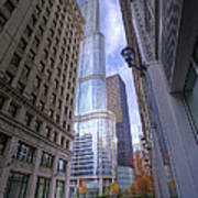 0527 Trump Tower From Wrigley Building Courtyard Chicago Poster