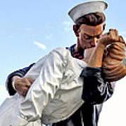 Closeup Nurse And Sailor Kissing Statue Unconditional Surrender Poster