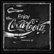 Coca Cola Sign Black And White Poster