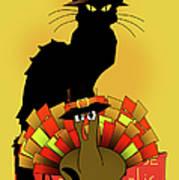 Thanksgiving Le Chat Noir With Turkey Pilgrim Poster