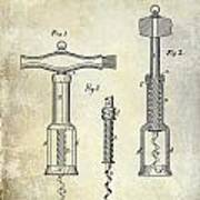 1876 Corkscrew Patent Drawing Poster