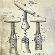 1883 Corkscrew Patent Drawing Poster
