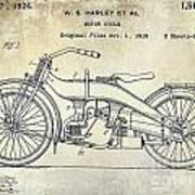 1924 Harley Davidson Motorcycle Patent  Poster