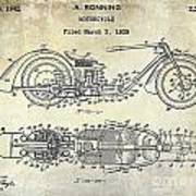 1939 Motorcycle Patent Drawing Poster