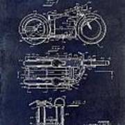 1950 Motorcycle Patent Drawing Blue Poster