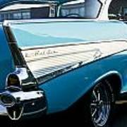 1957 Chevy Bel Air Blue Rear Quarter Poster