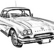 1962 Chevrolet Corvette Illustration Poster