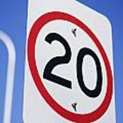 20km Road Sign Poster