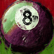 8 Ball Billiards Abstract Poster