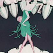 A Flapper In A Green Dress  Dances Poster