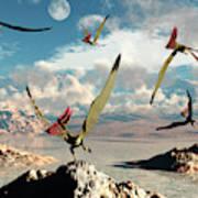 A Flock Of Thalassodromeus Pterosaurs Poster