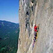 A Man Aid Climbing Poster