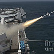 A Rim-7 Sea Sparrow Missile Is Launched Poster