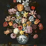 A Still Life Of Flowers In A Wan Li Vase Poster