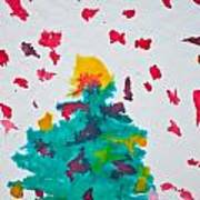 Abstract Kid's Painting Of Christmas Tree With Gifts Poster