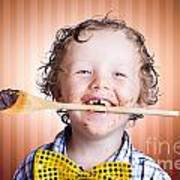 Adorable Little Boy Cooking Chocolate Easter Cake Poster