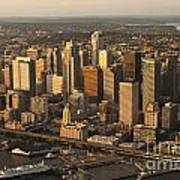 Aerial View Of Seattle Skyline Along Waterfront Poster
