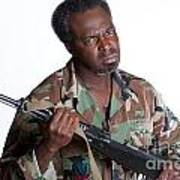 African American Man With Gun Poster