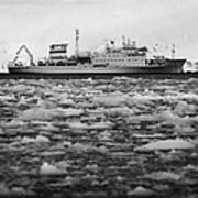 Akademik Sergey Vavilov Russian Research Ship In Port Lockroy As Brash Sea Ice Forming Winter Closin Poster