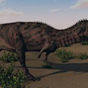 Alluring Majungasaurus In Swamp Poster