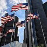 American Flags In Front Of The Detroit Renaissance Center Poster