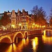 Amsterdam - Old Houses At The Keizersgracht In The Evening Poster