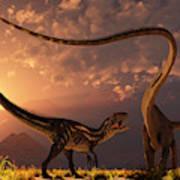 An Allosaurus In A Deadly Battle Poster