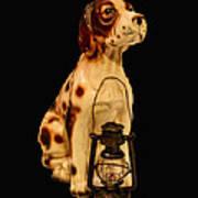 Antique Dog W Lantern Poster