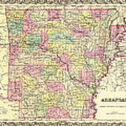 Antique Map Of Arkansas 1855 Poster