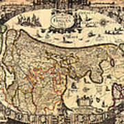 Antique Map Of Holland 1630 Poster