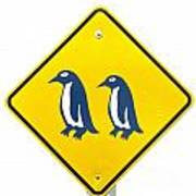 Attention Blue Penguin Crossing Road Sign Poster