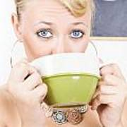Attractive Blonde Woman Drinking Green Tea Poster