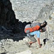 Backpacker Hiking Minaret Mountains Poster
