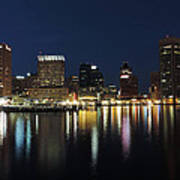 Baltimore Skyline At Dusk On The Inner Harbor Poster