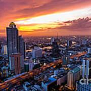 Bangkok City Skyline Sunset Poster
