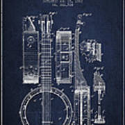 Banjo Patent Drawing From 1882 - Blue Poster