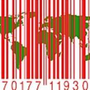Bar Code With The World Map Poster