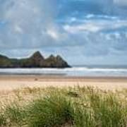 Beautiful Blue Sky Morning Landscape Over Sandy Three Cliffs Bay Poster