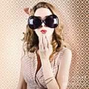 Beautiful Surprised Girl Wearing Big Sunglasses Poster