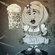 Beer Stein Dirndl Oktoberfest Cartoon Woman Grunge Monochrome Poster