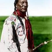 Blackfoot Man With Braided Sweet Grass Ropes Poster