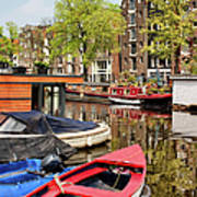 Boats On Canal In Amsterdam Poster