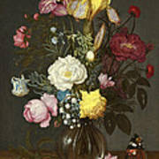 Bouquet Of Flowers In A Glass Vase Poster
