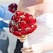 Bride Holding Red Rose Flower Bunch Poster