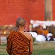 Buddhist Monk At Lumbini In Nepal Poster by Robert Preston