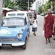Buddhist Monks In Yangon Street Myanmar Poster