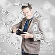 Businessman Under Falling Money. Financial Success Poster