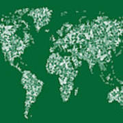 Butterflies Map Of The World Map Poster by Michael Tompsett